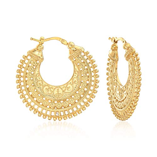 14k gold italian hoop earrings - 7