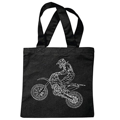 Reifen-Markt Tasche Umhängetasche Motocross - Enduro - Stunt - Freestyle Motocross - Gelände Motorrad Einkaufstasche Schulbeutel Turnbeutel in Schwarz