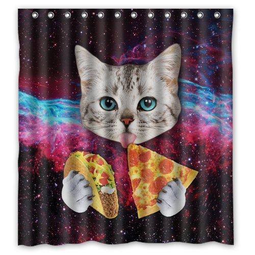 Custom Space Nebula Universe Katze Essen Pizza Polyester-Duschvorhang, Stilvolle Wasserdicht-Badezimmer Deco 167,6x 182,9cm