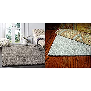 SAFAVIEH Milan Shag Collection SG180 Solid Non-Shedding Entryway Plush 2-inch Thick Area Rug, 10' x 14', Grey & PAD130 Durable Hard Surface and Carpet Non-Slip Rug Pad, 10-Feet by 14-Feet (B09337WQXY) | Amazon price tracker / tracking, Amazon price history charts, Amazon price watches, Amazon price drop alerts