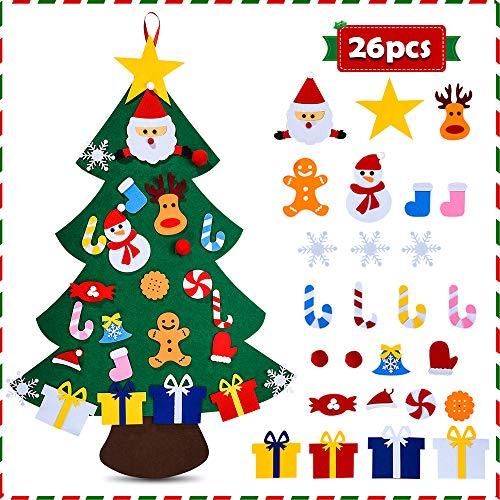 HmiL-U Filz-Weihnachtsbaum für Kinder – 91 cm 3D DIY 26 Stück abnehmbare Ornamente, Weihnachtsdekoration, Wandhängegeschenk für Kinder & Weihnachtsdekorationen