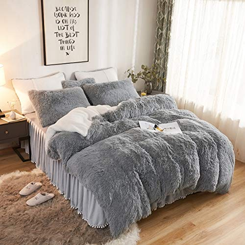 CRESTED Plush Shaggy Duvet Cover Set Ultra Soft Artificial Berber Fleece  Bedding Set 1 Pieces(1 Faux Fur Duvet Cover ),Double Zipper Closure (King, Light Gray)