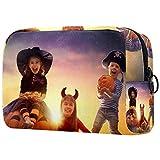 Divertidos niños en disfraces de carnaval bolsa de cosméticos para mujeres, adorables bolsas de maquillaje espaciosas bolsas de viaje impermeable neceser