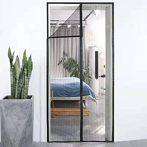 Magnetisches Fliegengitter für Türen, Insektenschutz, für Balkontür, Wohnzimmer, Terrassentür, ohne Bohren (90 x 210 cm), Schwarz