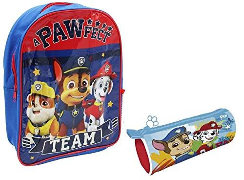 Pack de Mochila la Patrulla Canina 32x25 + portalapiz con Cremallera 21.5x7.5x7.5cm Infantil para niñas y niños (roja)