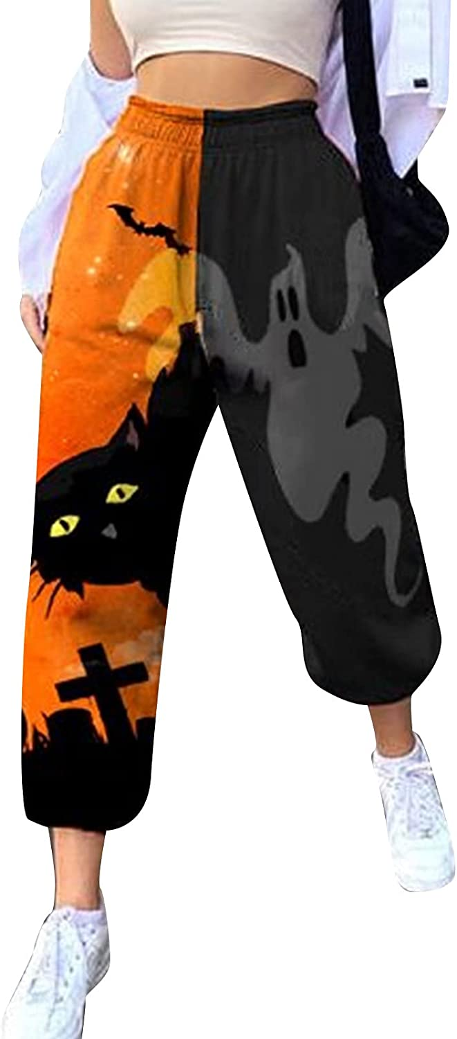 Y2k Gothic Halloween Skull Cat Patchwork Sweatpants Fashion Street Ghost Baggy Casual Pants Loose Slicks for Women