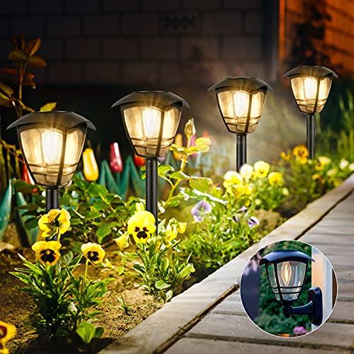 Litake Faroles Solares de Pared, 4 Piezas 2 en 1 Lámparas Solares para Jardín&Linternas de Pared,Luces Solares Camino Decoración Iluminación con Edison Bulbo para Patio Césped