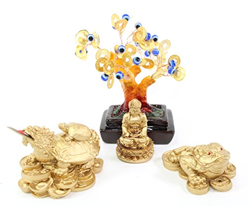 We pay your sales tax Set of 4~Fengshui Gold Buddha Blue Evil Eye Money Tree Money Frog Dragon Turtle Home Decor