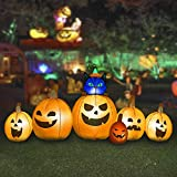 HOOJO 6FT Long Halloween Pumpkin with Witch 's Cat Inflatable Decoration with Build in LEDs, Blow up Indoor, Yard, Garden Lawn Decoration