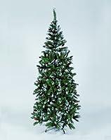 Albero di Natale Pino delle Marche con punte bianche 210 Cm. - 580 Rami 150 Cm. - 280 Rami Base in metallo - Ignifugo - Con Pigne 180 Cm. . 420 Rami