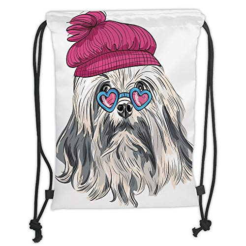 Drawstring Rucksack, Indianer, Löwe Bichon Lowchen Breed Dog with Heart Shaped Glasses and French Hut Decorativ, Grey Pink Blue Soft Satin, Größe S