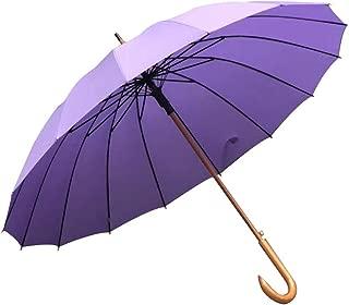 YQRYP Men's Umbrellas Increase 16 Bone Solid Long Handle Umbrella Dual-use Umbrella Curved Handle Double Umbrella Windproof Business Umbrella Windproof Umbrella, Golf Umbrella (Color : Purple)