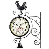 壁時計 ジュエリー外両面オスのひな鳥ベル屋外ガーデンブラケット時計 サイレント壁掛け時計 (色 : Black, Size : One size)