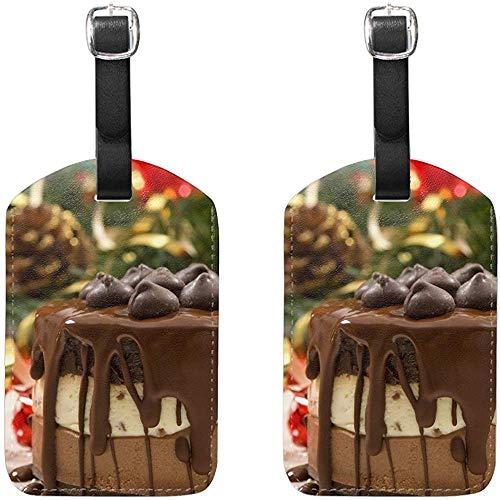 Desserts Weihnachten Schokolade und Sahne-Torte Leder Gepäckanhänger mit Privacy Label Flap für Reise Koffer Gepäck