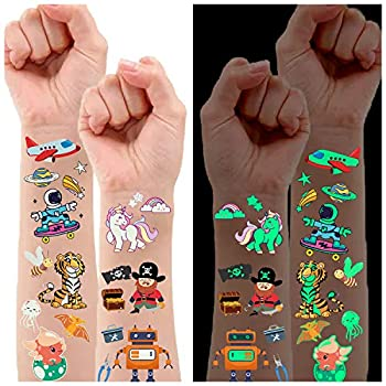 Luminous Temporary Tattoos for Kids Waterproof Fake Tattoos Stickers with Unicorn Dinosaur Mermaid Pirate Construction Theme for Boys and Girls Birthday Party Decorations Supplies Favors