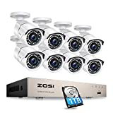 ZOSI 8CH PoE Home Security Cameras System with 1TB Hard Drive,H.265+ 5MP 8-Channel NVR Recorder and 8pcs Wired 2MP 1080P Outdoor Weatherproof 120ft Night Vision PoE IP Cameras for 24/7 Recording