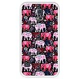 Hapdey Coque pour [ Samsung Galaxy S5 ] Dessin [ Motif Lumineux de Beaux éléphants Roses et Rouges...
