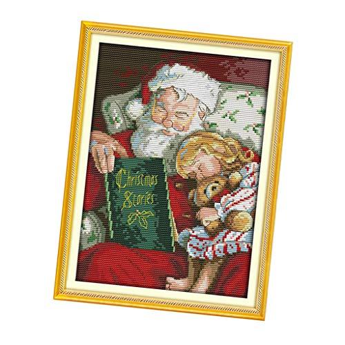 IPOTCH Kreuzstich DIY Handarbeit Stickpackung Set vorgezeichnete Stickbild zum Sticken (Weihnachten), Stickset mit Stickvorlage und Anleitung