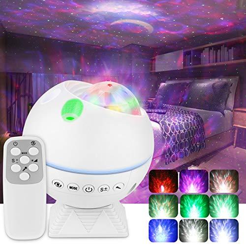 LED Sternenhimmel Projektor Lampe, Starry Projector light mit Fernbedienung, Musik Steuerbar, 360°Drehen, 4 Helligkeitsstufen für Kinder Erwachsene Zimmer Deko, Galaxy projector Nachtlicht