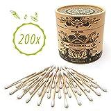 Nature Nerds - Wattestäbchen (200 Stück) aus Bambus & Baumwolle, plastikfrei & nachhaltig