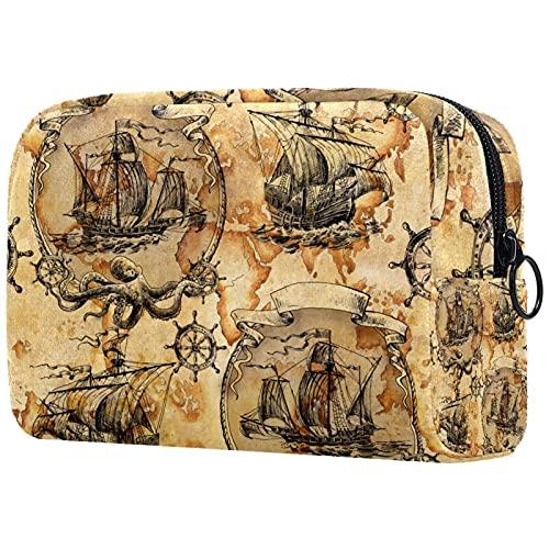Neceser de viaje, bolsa de viaje impermeable, bolsa de aseo para mujeres y niñas tropical marino langosta ancla corales 18,5 x 7,5 x 13 cm