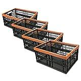 HRB 4 Stück stabile Profi Klappbox, 32 Liter Volumen pro Einkaufsbox klappbar, Klappboxen mit Maßen 48 x 35 x 23 cm, Einkaufskorb faltbar in der Farbe schwarz/braun
