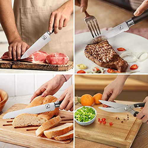 Japanese Knife Set, imarku 11-Piece Professional Kitchen Knife Set with Block, Stainless Steel Chef Knife Set with Wooden Cutting Board, Knife Sharpener, Fathers Day Gifts