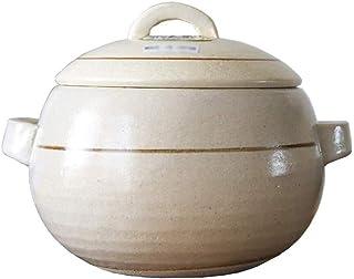 KOIUJ Comercial Crisol de guisado de cerámica de alta temperatura sopa de olla de piedra vasija de barro Olla con Lid1.7KG (Color : White)