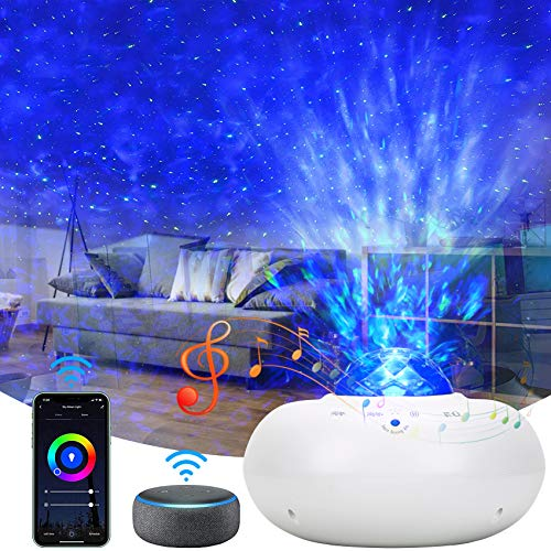 Star Projector, Smart Galaxy Projector Works with Alexa Google Assistant, Phone App Remote Control Night Light Projector with LED Nebula Galaxy Bluetooth Speaker Timer for Kids Adults Bedroom Decor
