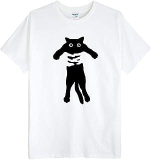 (ゴジラ千) GODZILLASENN メンズtシャツ ネコネコ 柄プリントTシャツ