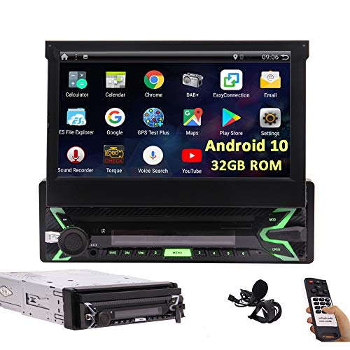 7 inch Flip-Out Single Din Touchscreen Car Stereo Android 10.0 Car Radio with Bluetooth Detachable Panel in Dash GPS Navigation Head Unit 1 Din Video Player WiFi Screen Mirror 32GB ROM+External Mic