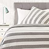AmazonBasics - Bettwäsche-Set, Jersey, breite Streifen, 135 x 200 cm / 80 x 80 cm, Grau