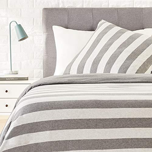Amazon Basics - Bettwäsche-Set, Jersey, breite Streifen, 155 x 200 cm / 80 x 80 cm, Grau