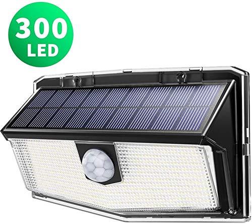 HJWL 300 LED Luci Solari Esterno, Luce Solare con Sensore di Movimento, 270ºIlluminazione Wireless Lampada Solare per Giardino, Parete Wireless Risparmio Energetico