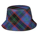 Lawenp Scots Style Clan Home Hume Tartan Plaid Impresión Unisex Sombrero de Cubo Patrón Sombreros de Pescador Verano Reversible Packable Cap Mujeres Hombres Niña Niño Negro
