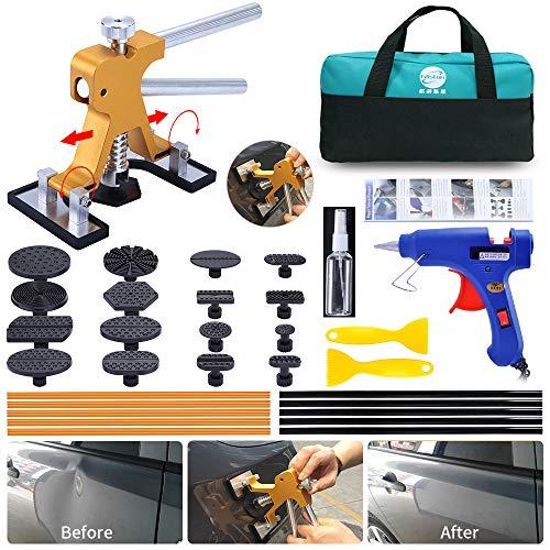 LTGABA Dent Puller Kit- 33PCS Paintless Dent Puller, Adjustable Golden Car Dent Puller, Car Dent Repair Kit for Auto Body Dent Repair and Hail Damage