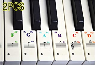 Drinkcomfort Piano Stickers for Keys - For 37/49/61/88 Key Keyboards -Transparent and Removable with Free Sheet of Replacement Stickers(2PCS)