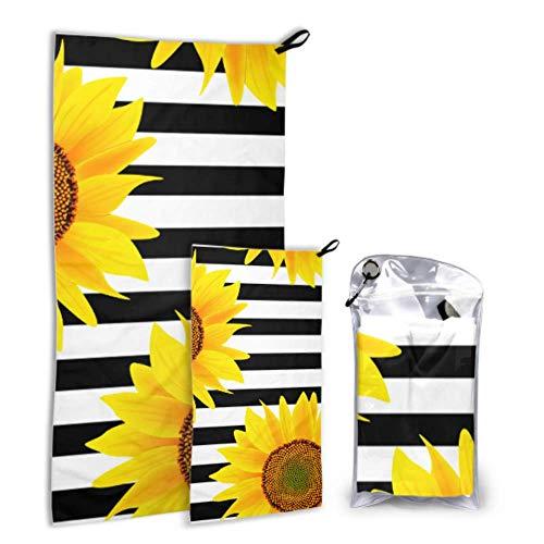 Zeichnungen von Sonnenblumen und Schmetterlingen 2 Pack Mikrofaser Falten Strandtuch Womens Handtuch Set schnell trocknend am besten für Gym Reisen Backpacking Yoga Fitnes
