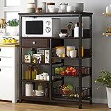NAIYUFA 5-Tier Kitchen Baker's Rack with Storage,Microwave Oven Stand,Utility Kitchen Storage Shelf with Drawer and Mesh Baskets Organizer Rack
