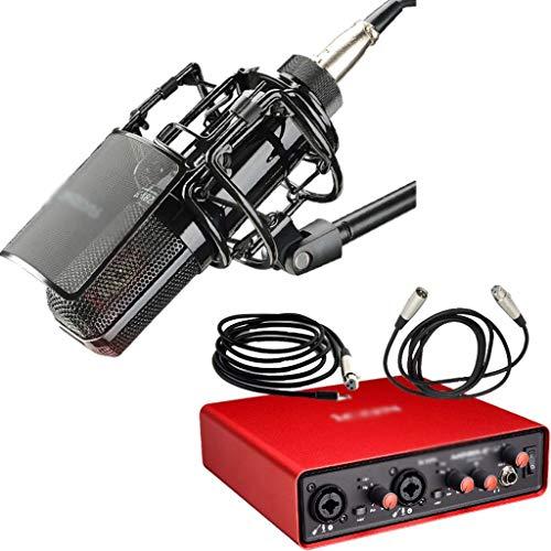 GZQDX Gran micrófono de grabación de cápsula de diafragma Chapado en Oro y Tarjeta de Sonido Icon Mobile U para transmisión en Vivo