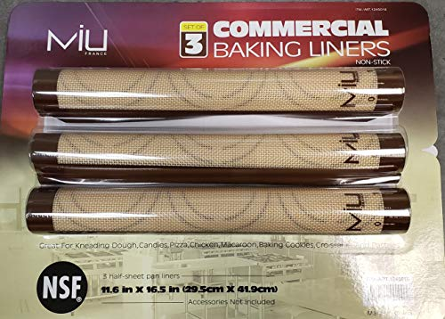 MIU Sheet business set of three silicone baking liners, 11.6 inch x 16.5 inch, brown