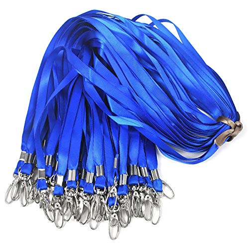 Blue Lanyards 100Pcs Nylon Bulk Lanyard for Id Badges,Badge Lanyards Swivel Hooks Clips Great for Name Tags Badge (100PCS, Blue)