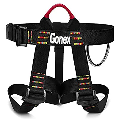 Gonex Rock Climbing Harness, Tree Climbing Harness Adjustable Mountaineering Rappelling Safe Seat Belts for Men Women