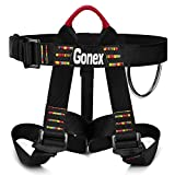 Gonex Rock Climbing Harness, Tree Climbing Harness Adjustable Mountaineering Rappelling Safe Seat Belts for Men Women, Black