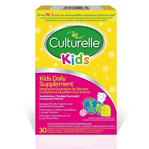 Culturelle Kids Supplemento Giornaliero per bambini - 30 pastiglie masticabili - 5 miliardi di colture vive e attive di Lactobacillus rhamnosus GG - senza glutine - fornitura di 30 giorni