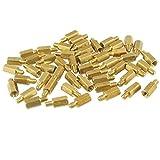 Insmart 50 Pezzi Gold Tone Esagonale in Ottone PCB distanziatore Spacer 8 mm M3 Maschio a Femmina