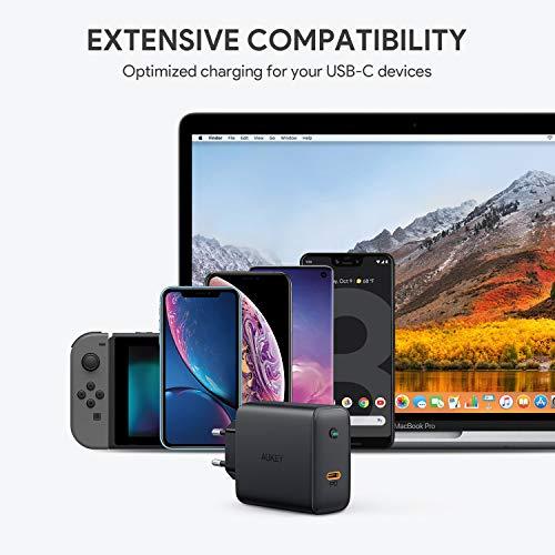 AUKEY USB C Ladegerät mit GaN Tech, 60W Schnellladegerät mit Power Delivery, kompatibel mit, MacBook Pro 13'', iPhone 11 Pro/ 11 Pro Max, Dell XPS 13, HP Spectre, Lenevo Thinkpad, Nintendo Switch usw