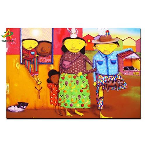 YWDECOR HD Drucken Brasilianische Graffiti Künstler Street Art Ölgemälde auf Leinwand Kunst Wandmalerei Bild Poster für Wohnzimmer 50x75cm