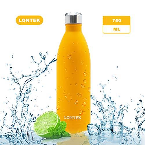 lontek 750ml Edelstahl Trinkflasche,BPA Frei auslaufsicher Vakuum Isolierte Thermosflasche,Orange,für Sport, Schule, Outdoor, Fahhrad, Fitness, Wandern und Camping