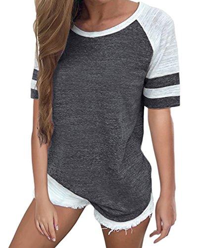 VONDA Damski T-shirt z długim rękawem okrągły dekolt koszula luźna bluzka top
